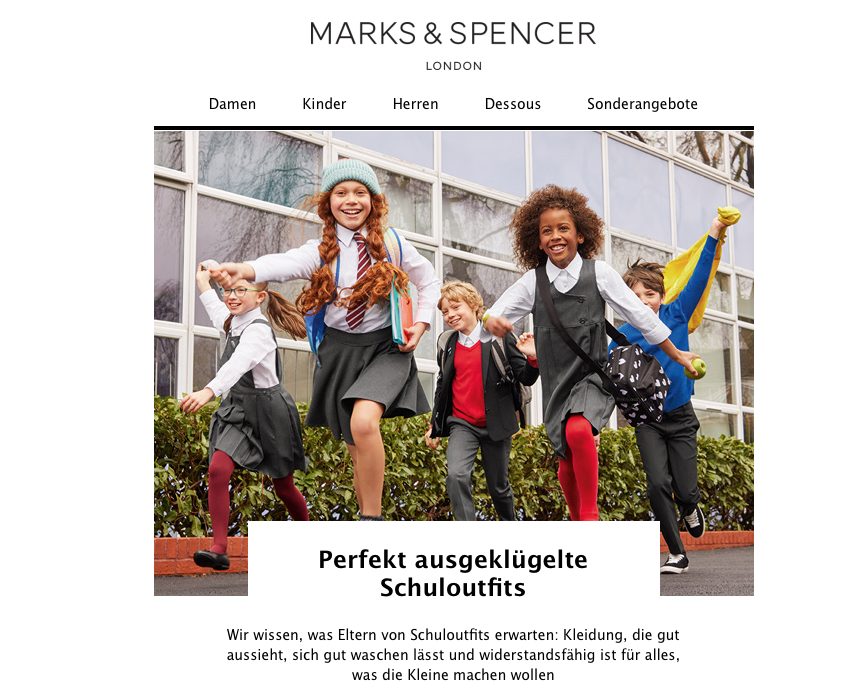 Photo of laughing school children in school uniform, with marketing text in German